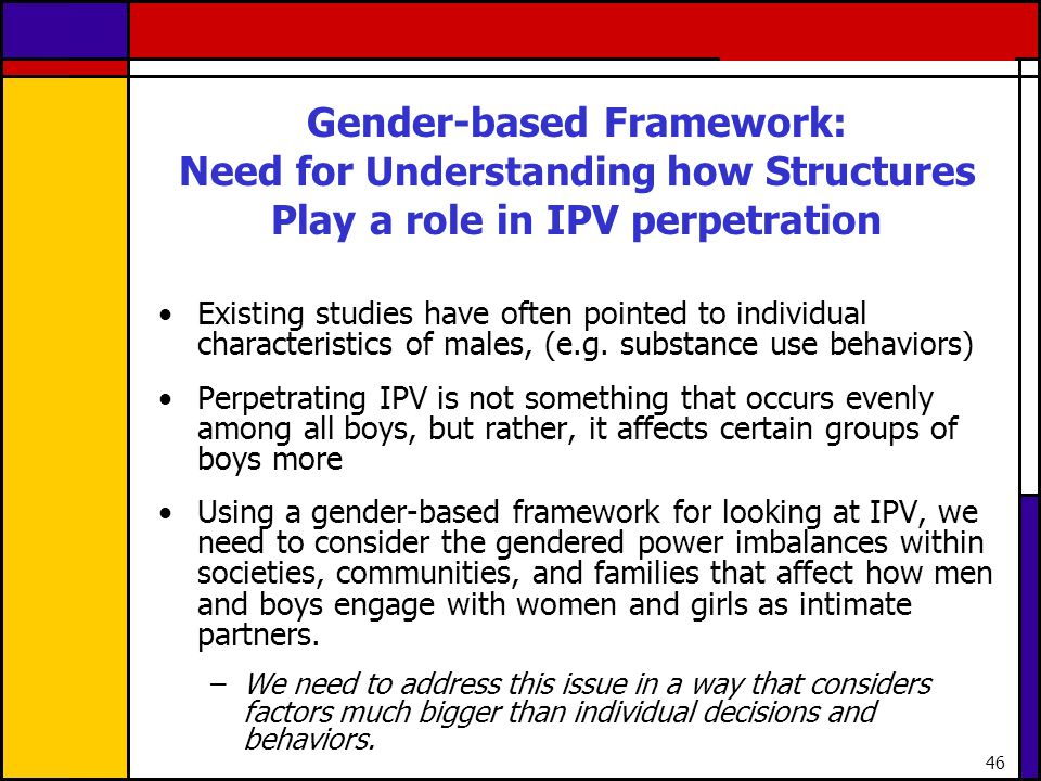 Gender-based Framework: Need for Understanding how Structures Play a role in IPV perpetration