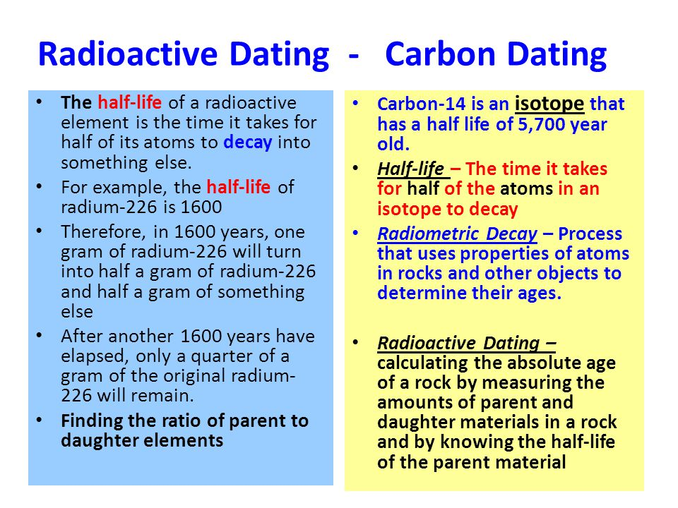 Half Life and Radiometric Dating