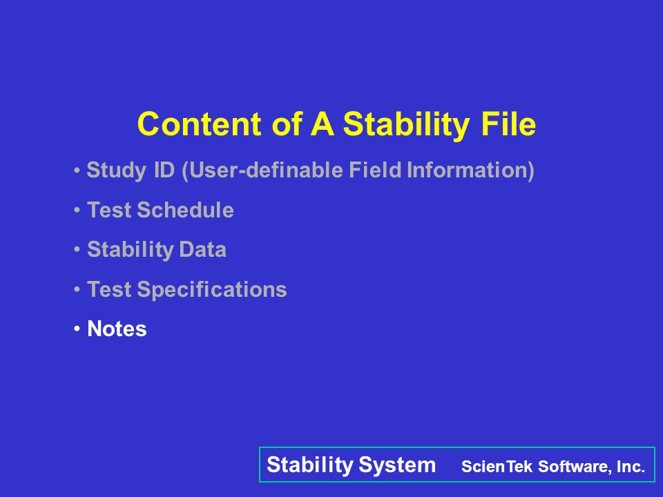 Content of A Stability File