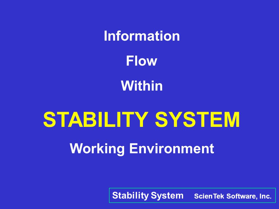 STABILITY SYSTEM Information Flow Within Working Environment