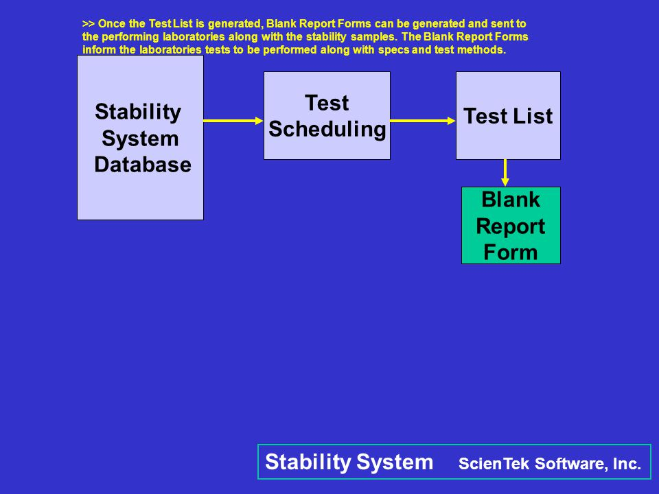 Stability System Database Test Scheduling Test List Blank Report Form