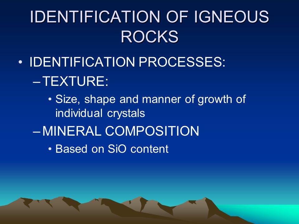 IDENTIFICATION OF IGNEOUS ROCKS