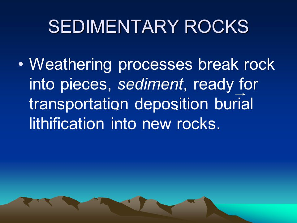 SEDIMENTARY ROCKS Weathering processes break rock into pieces, sediment, ready for transportation deposition burial lithification into new rocks.