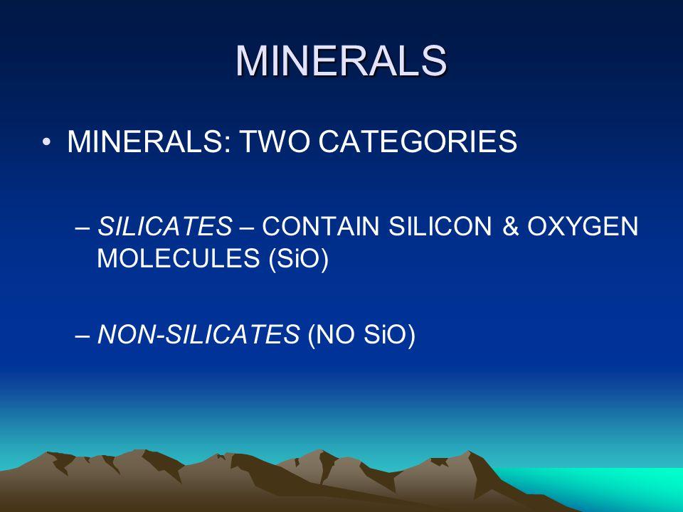 MINERALS MINERALS: TWO CATEGORIES