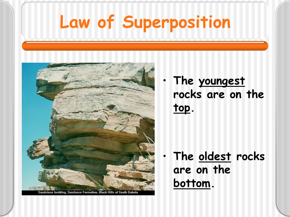 Law of Superposition The youngest rocks are on the top.