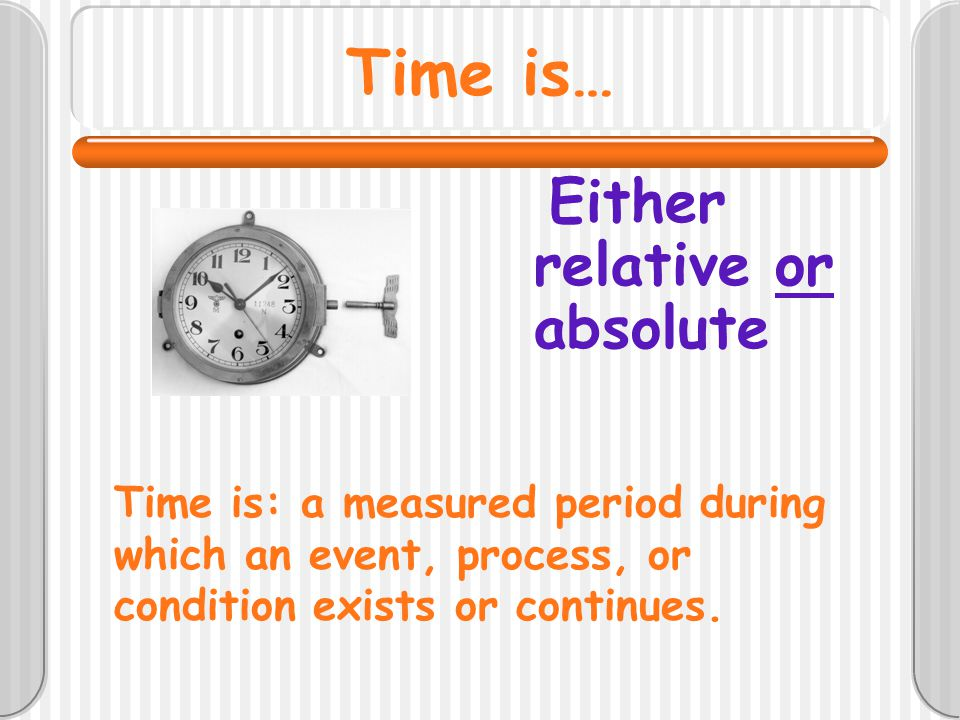 Time is… Either relative or absolute