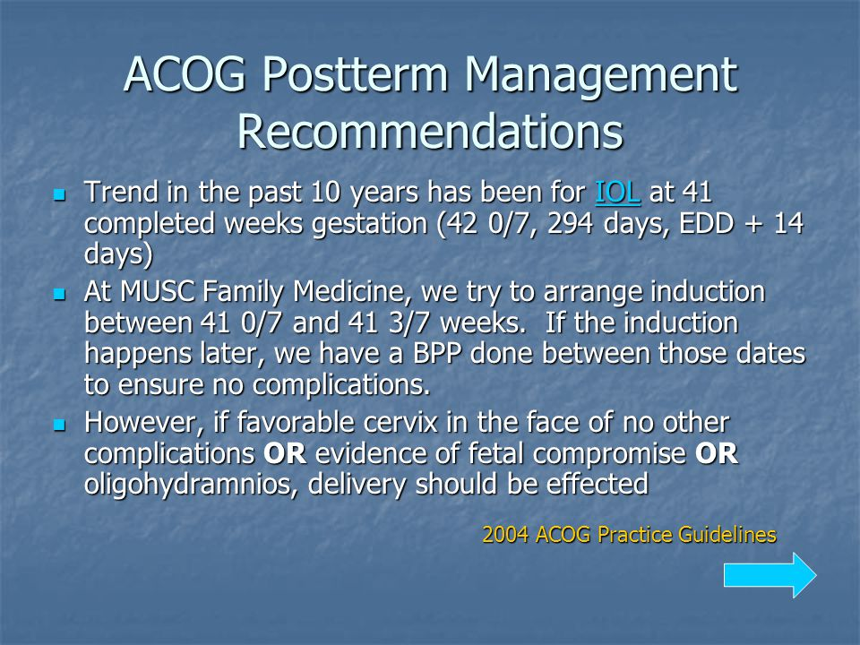 ACOG Postterm Management Recommendations