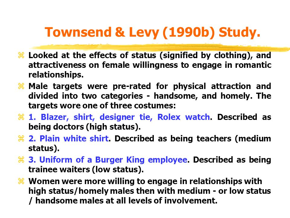 Townsend & Levy (1990b) Study.