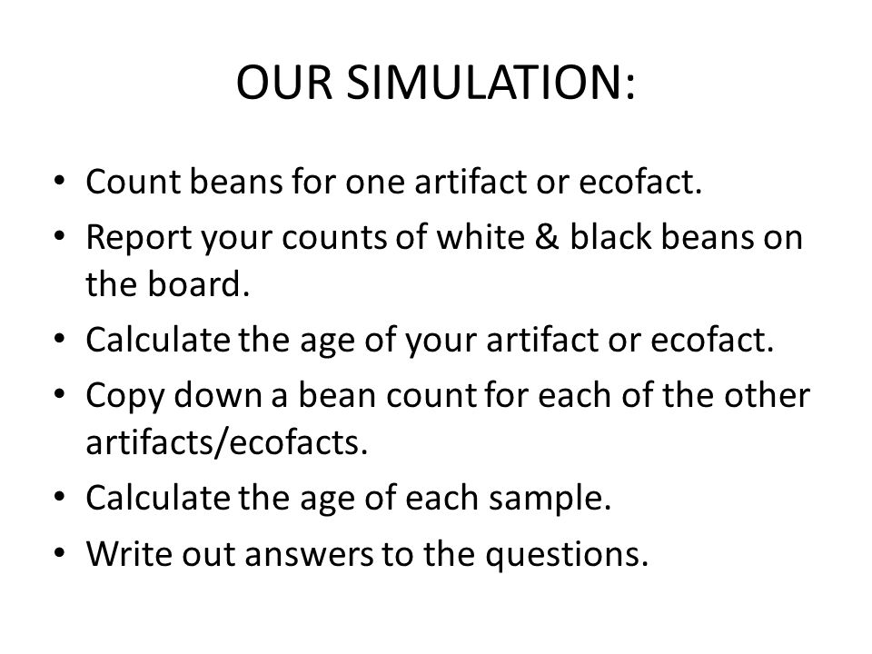 OUR SIMULATION: Count beans for one artifact or ecofact.