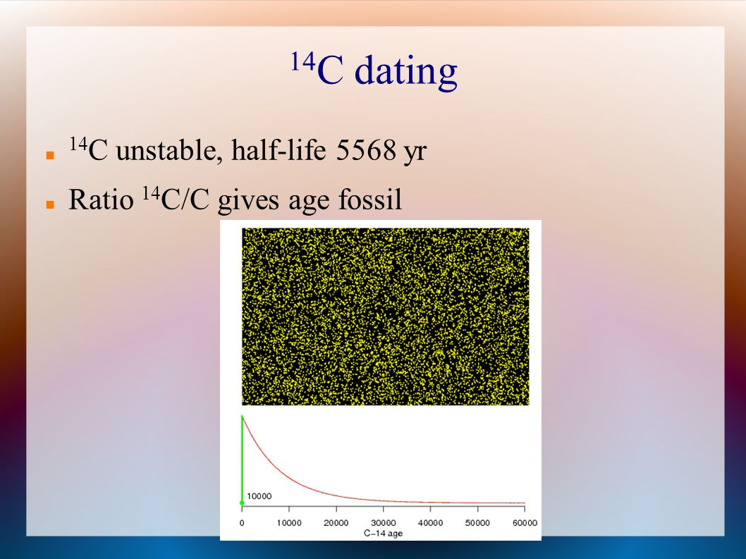 14C dating 14C unstable, half-life 5568 yr