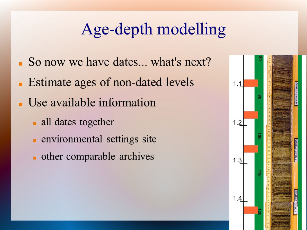 Age-depth modelling So now we have dates... what s next