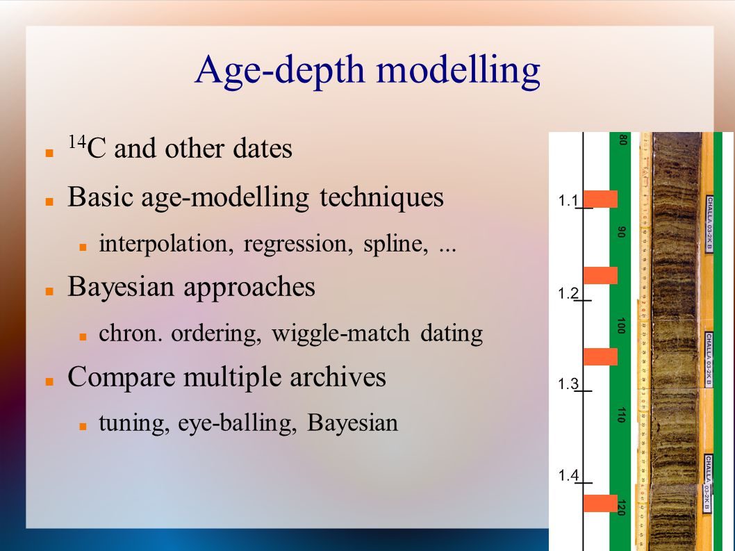 Age-depth modelling 14C and other dates Basic age-modelling techniques