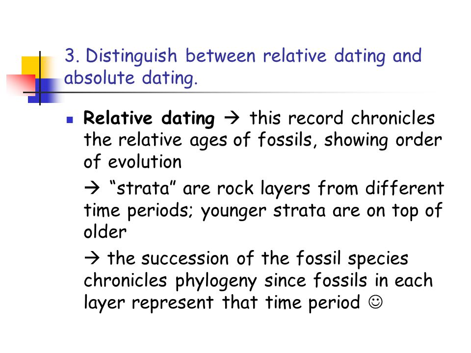 difference between absolute and relative geologic dating Relative dating helps with finding the absolute dating, on the other hand, relative dating does not depend on absolute dating for relative dating, the layer of rocks becomes one example where the top rock is the newest one, and the bottom rock stays the oldest.