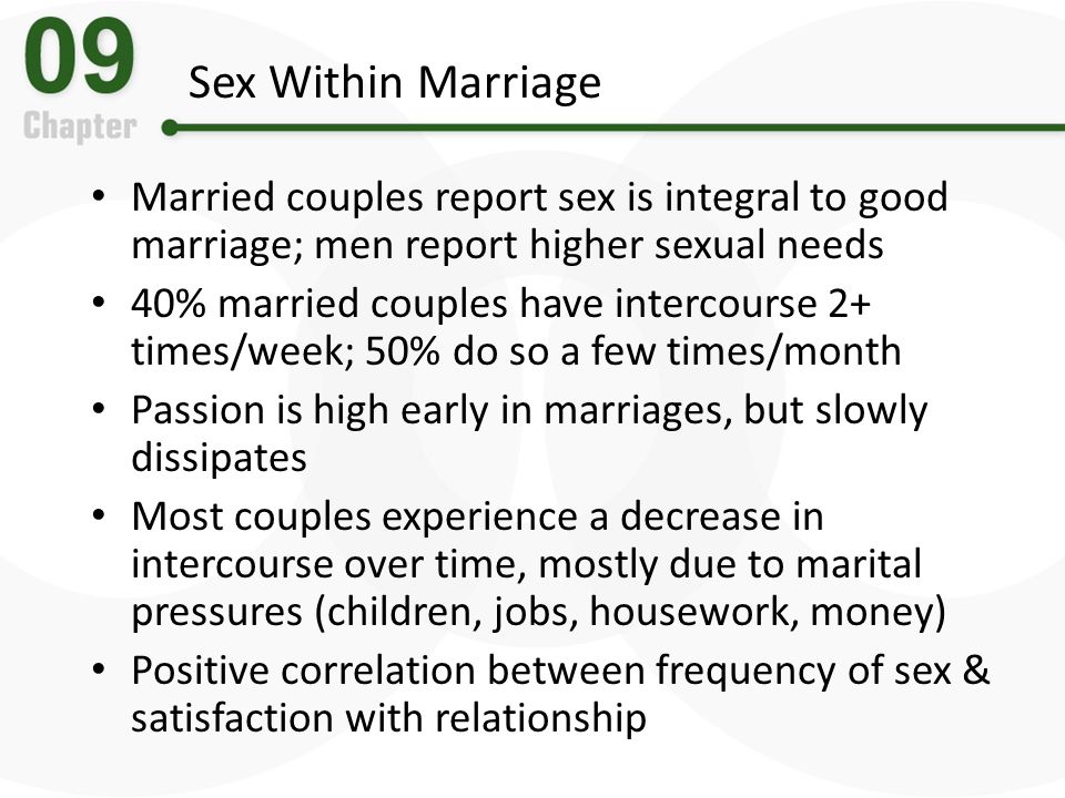 Sex Within Marriage Married couples report sex is integral to good marriage; men report higher sexual needs.
