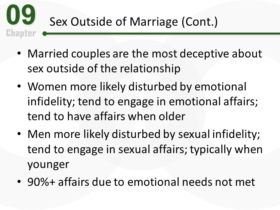 Sex Outside of Marriage (Cont.)