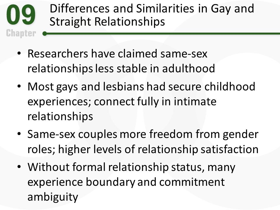 Differences and Similarities in Gay and Straight Relationships