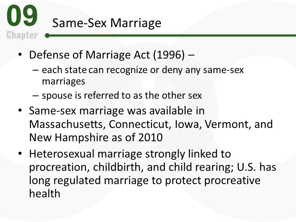 Same-Sex Marriage Defense of Marriage Act (1996) –