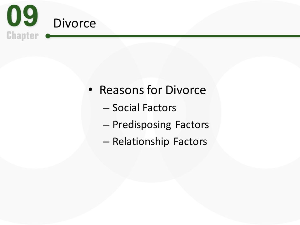 Divorce Reasons for Divorce Social Factors Predisposing Factors