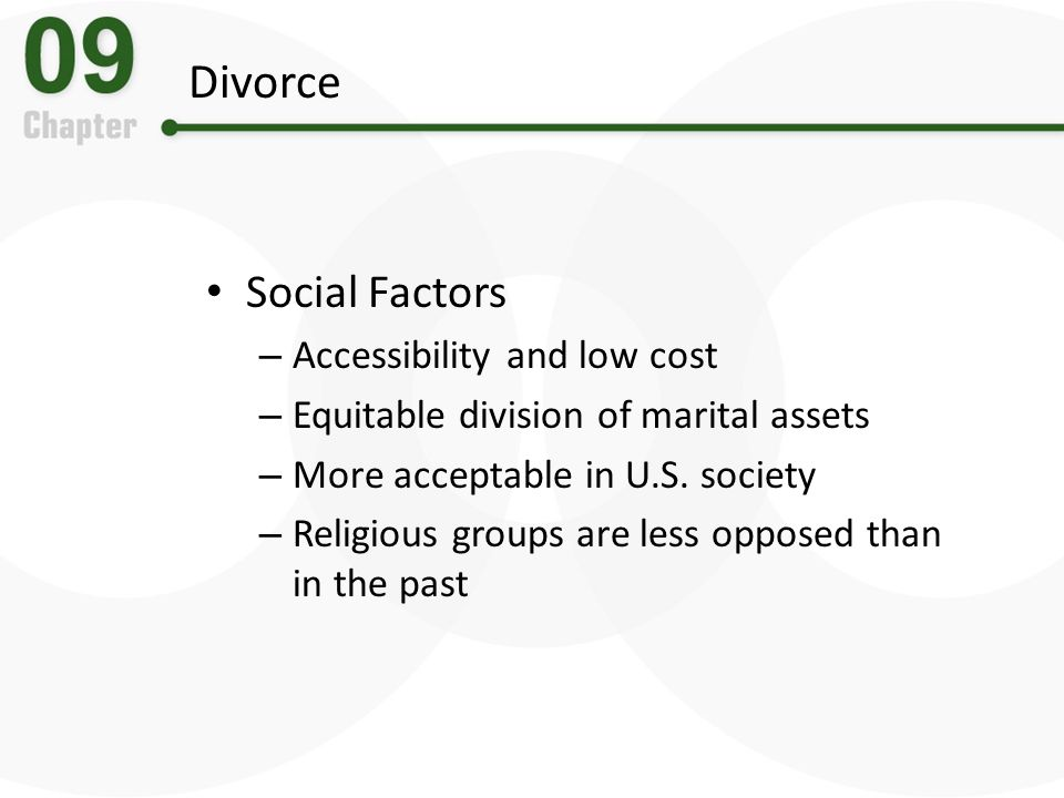 Divorce Social Factors Accessibility and low cost