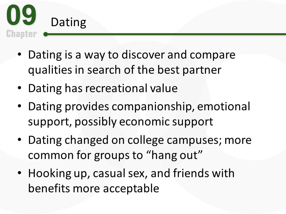 Dating Dating is a way to discover and compare qualities in search of the best partner. Dating has recreational value.
