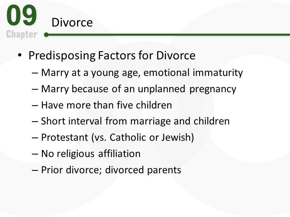 Divorce Predisposing Factors for Divorce
