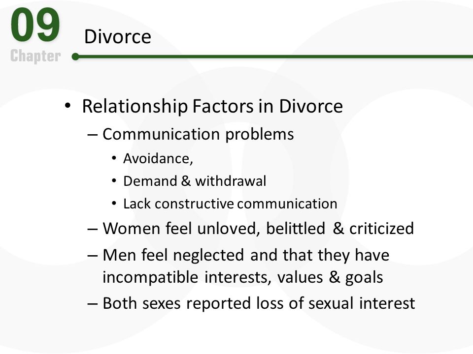 Divorce Relationship Factors in Divorce Communication problems