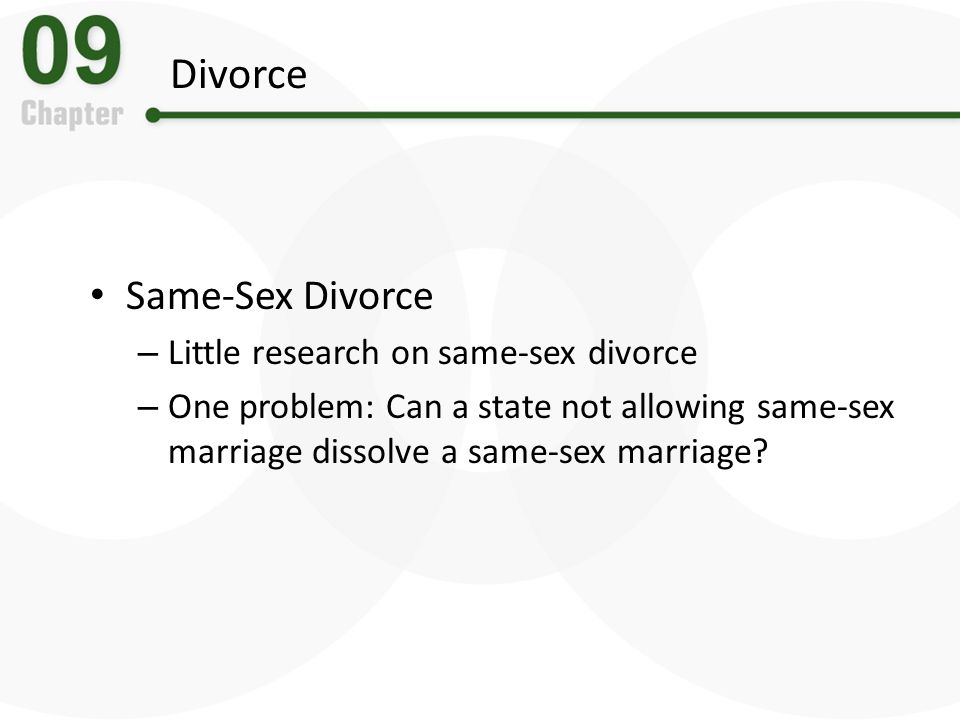 Divorce Same-Sex Divorce Little research on same-sex divorce