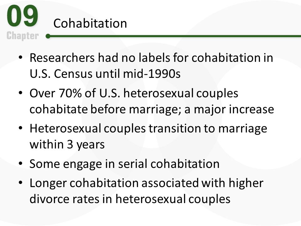Cohabitation Researchers had no labels for cohabitation in U.S. Census until mid-1990s.