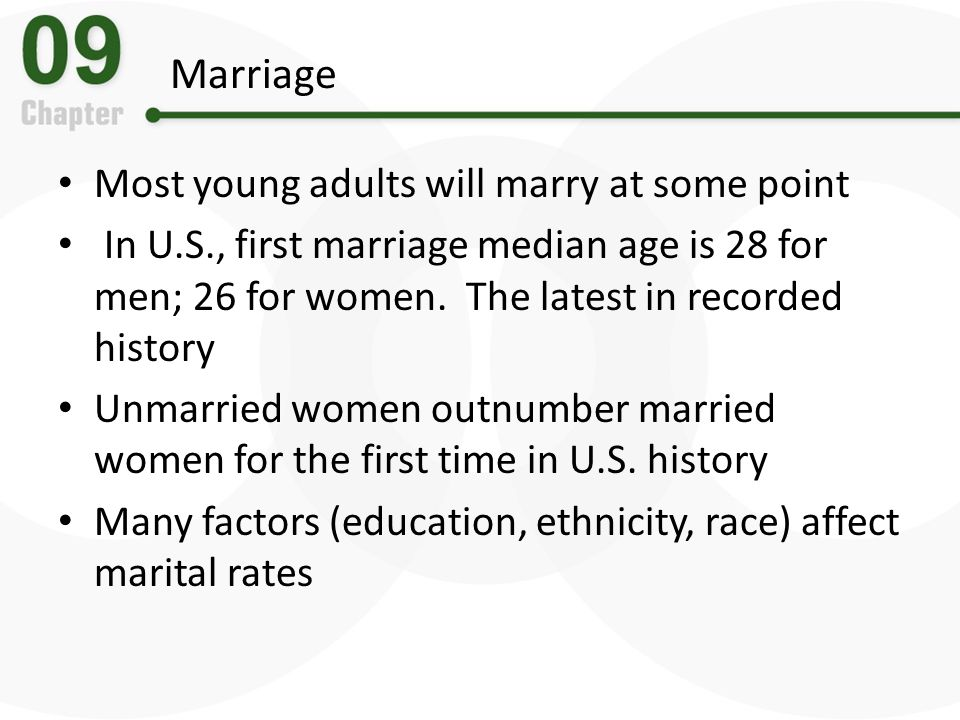 Marriage Most young adults will marry at some point
