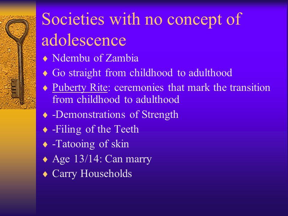Societies with no concept of adolescence