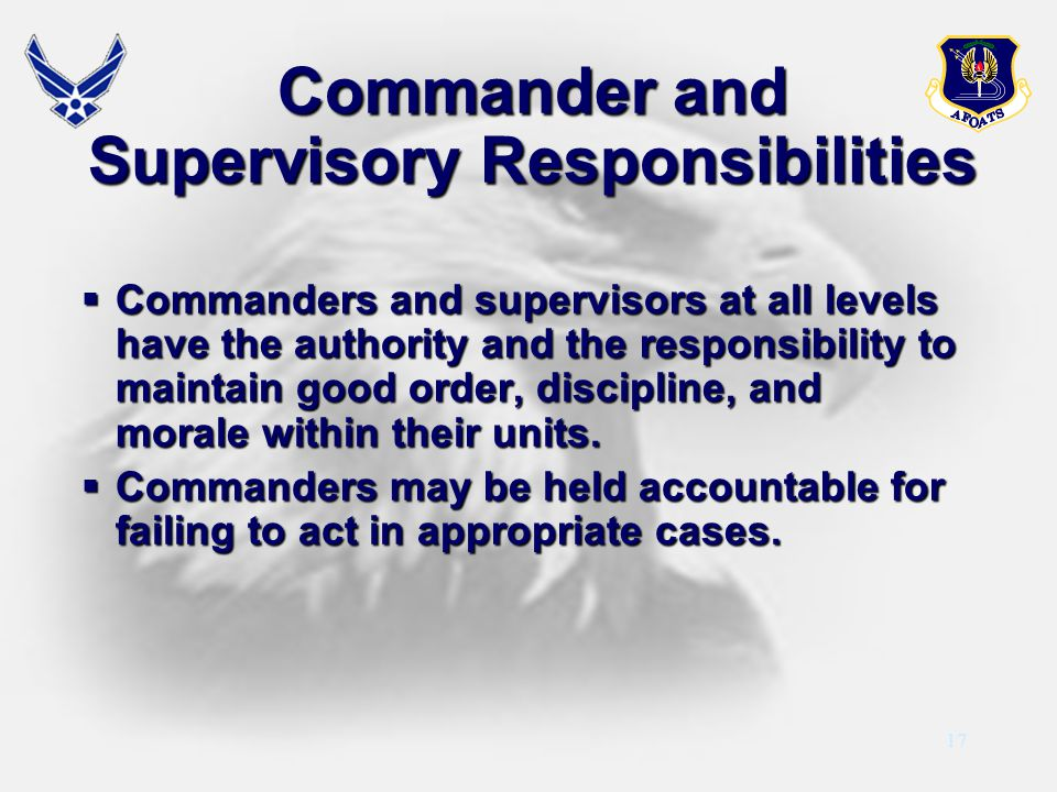 Commander and Supervisory Responsibilities