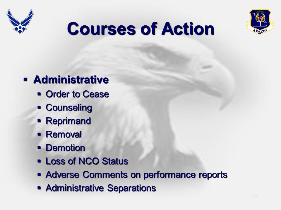 Courses of Action Administrative Order to Cease Counseling Reprimand