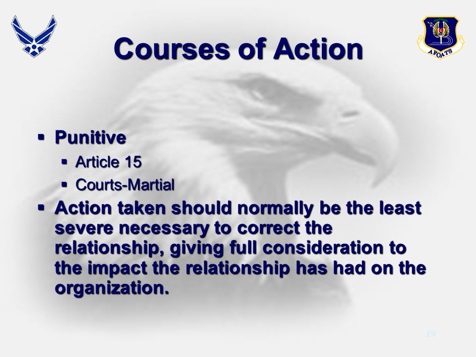 Courses of Action Punitive