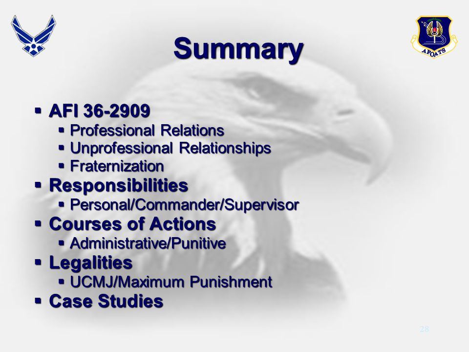 Summary AFI 36-2909 Responsibilities Courses of Actions Legalities