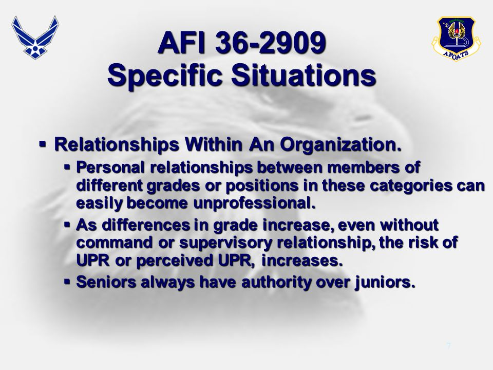 AFI 36-2909 Specific Situations