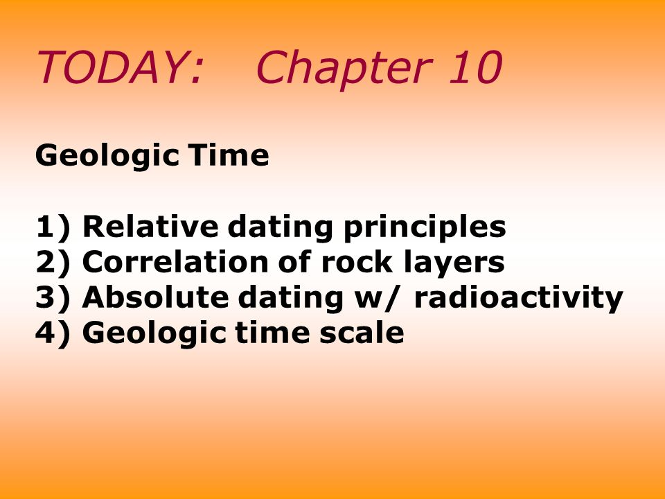 TODAY: Chapter 10 Geologic Time 1) Relative dating principles