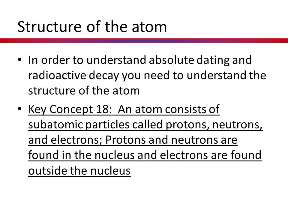 Structure of the atom In order to understand absolute dating and radioactive decay you need to understand the structure of the atom.
