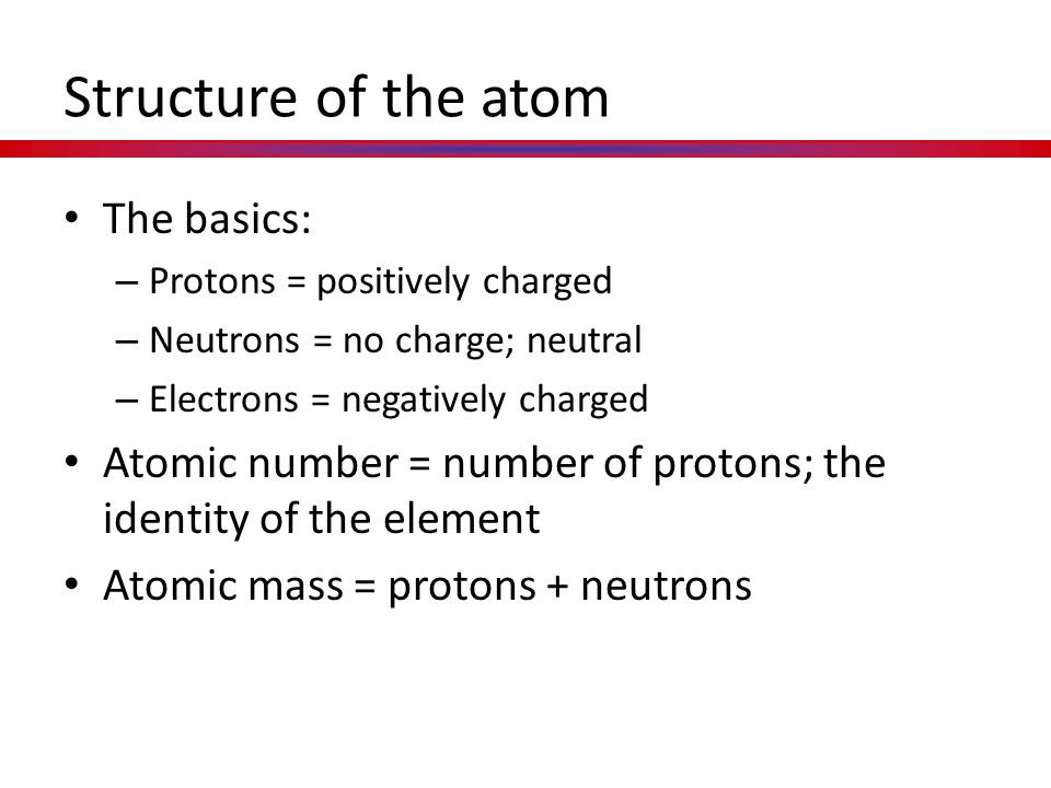 Structure of the atom The basics: