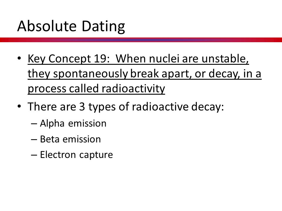 Absolute Dating Key Concept 19: When nuclei are unstable, they spontaneously break apart, or decay, in a process called radioactivity.