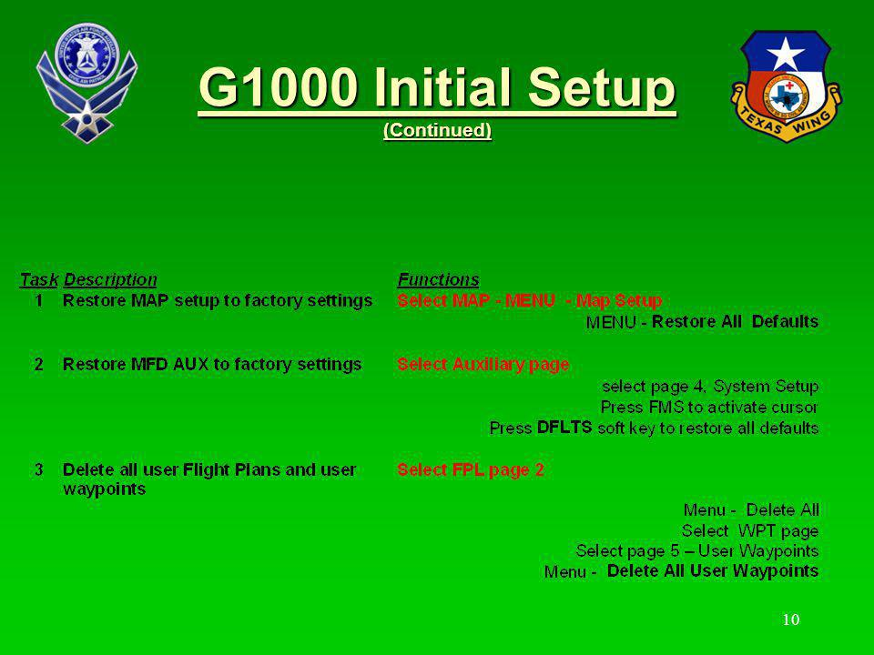 G1000 Initial Setup (Continued)