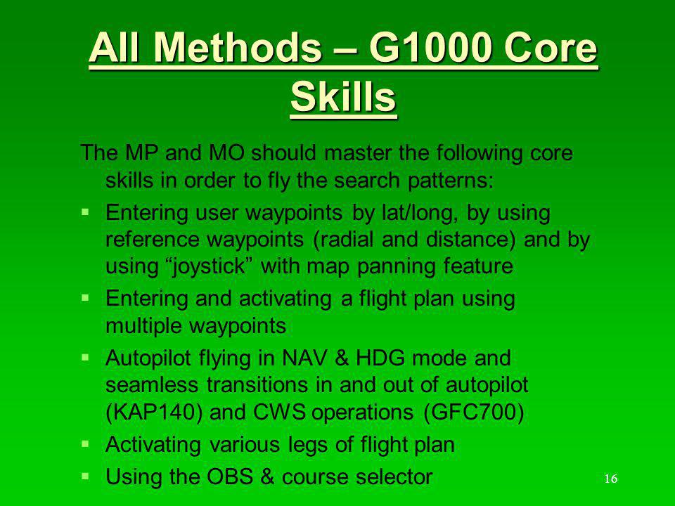 All Methods – G1000 Core Skills