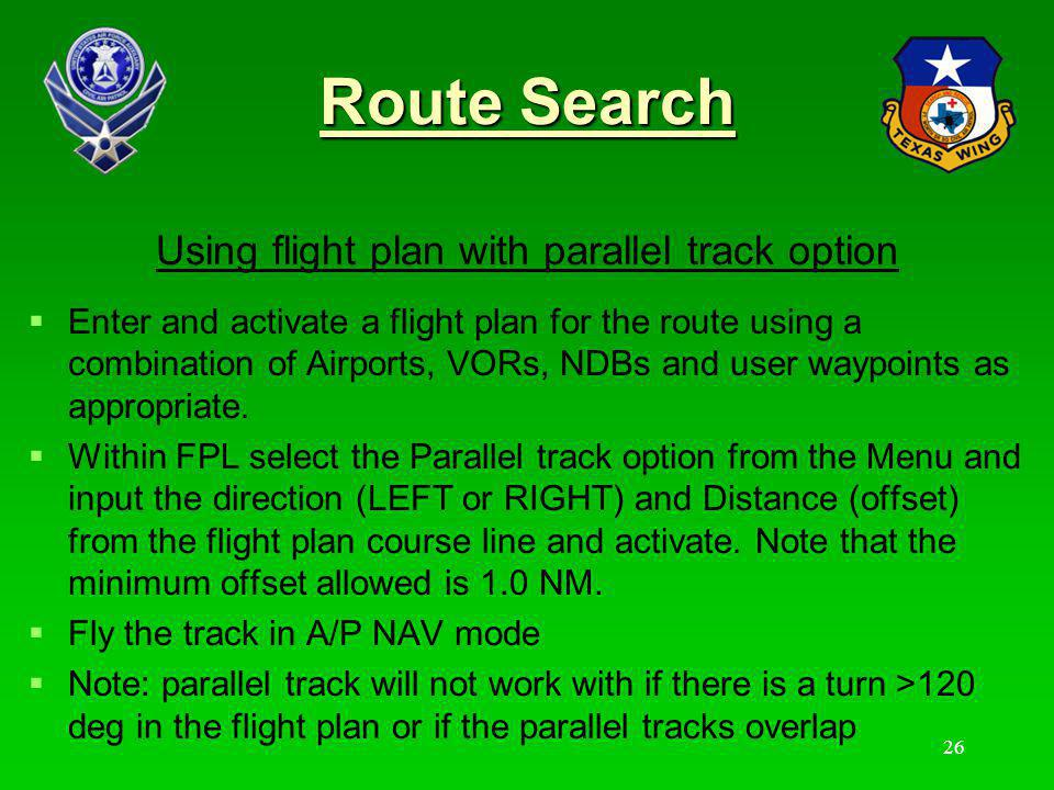 Using flight plan with parallel track option