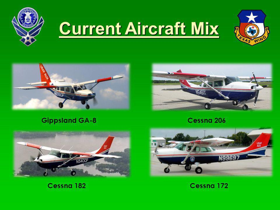 Current Aircraft Mix Gippsland GA-8 Cessna 206 Cessna 182 Cessna 172