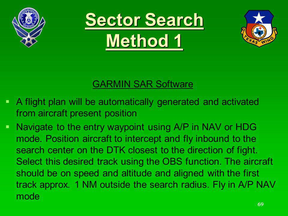 Sector Search Method 1 GARMIN SAR Software
