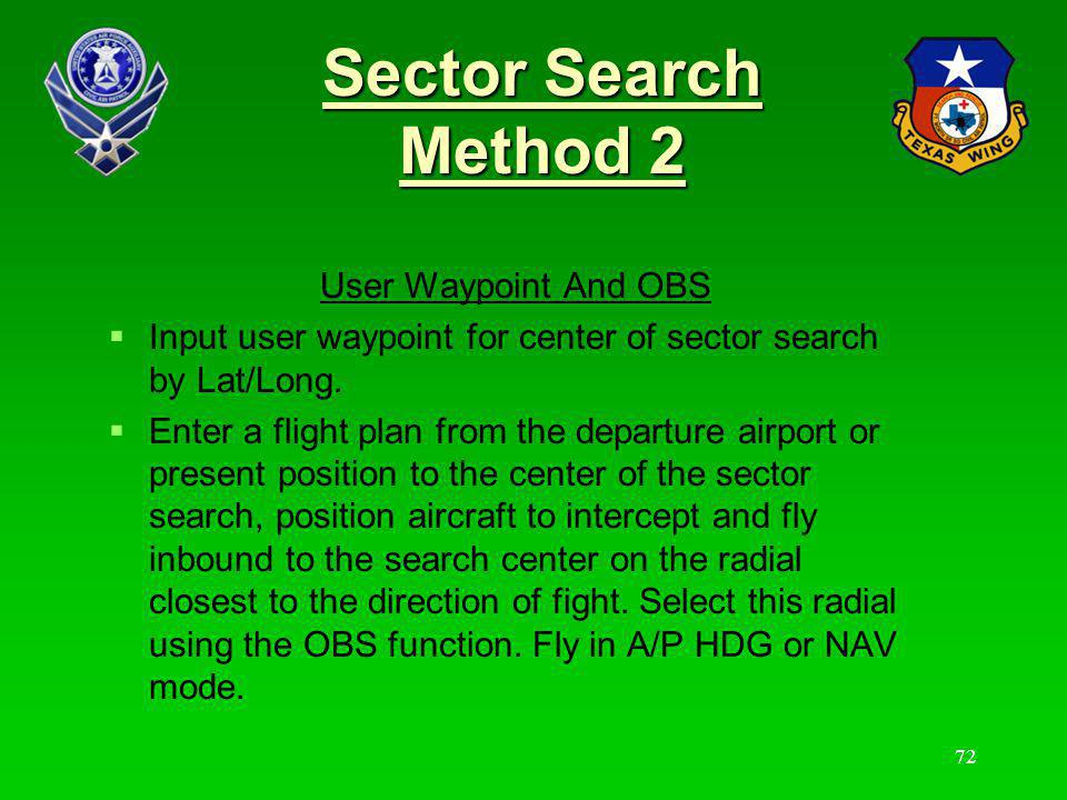 Sector Search Method 2 User Waypoint And OBS
