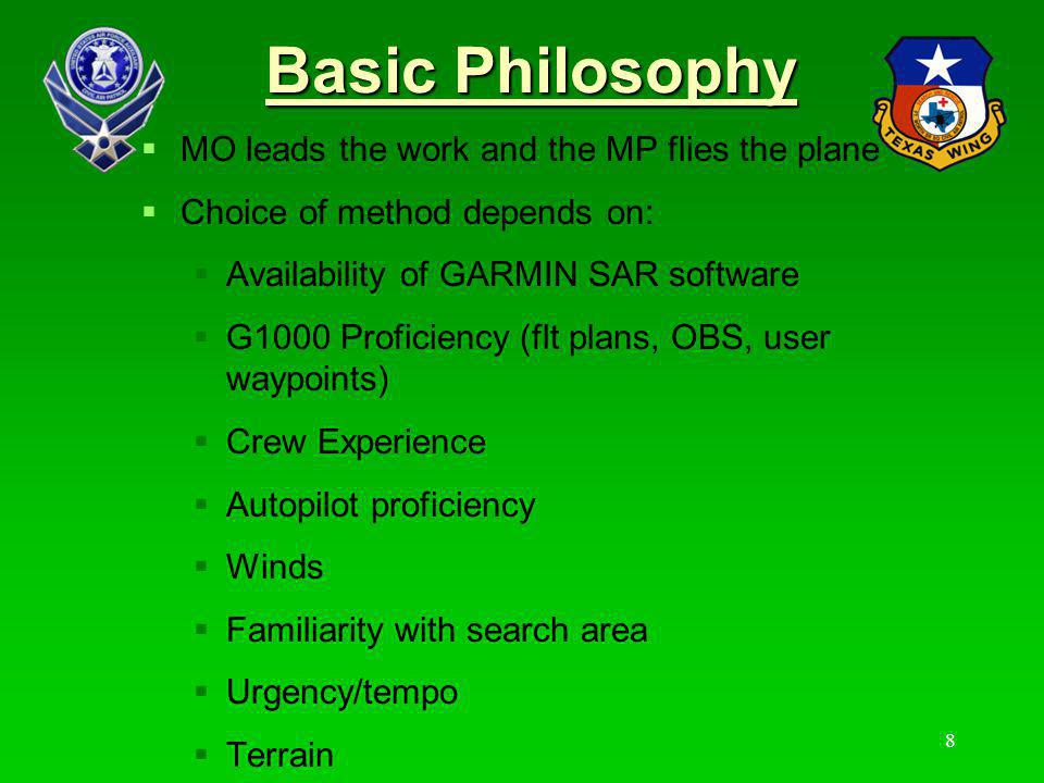 Basic Philosophy MO leads the work and the MP flies the plane