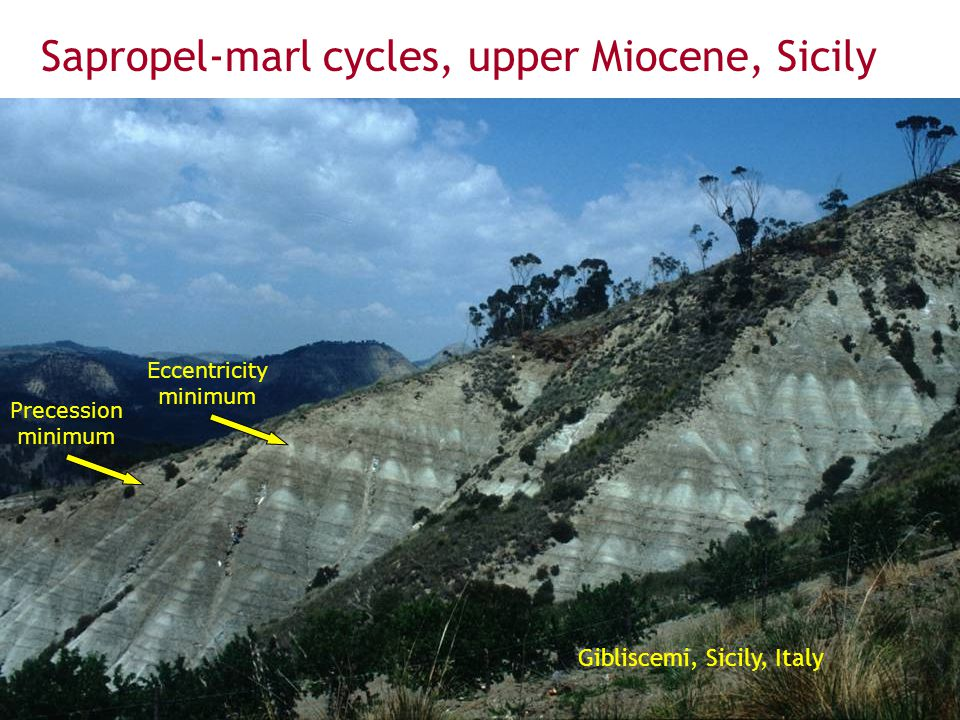 Sapropel-marl cycles, upper Miocene, Sicily