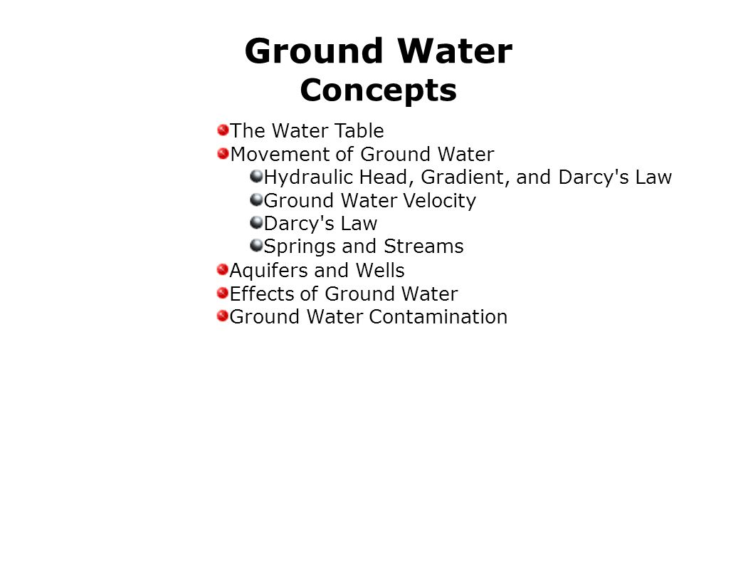 Ground Water Concepts The Water Table Movement of Ground Water