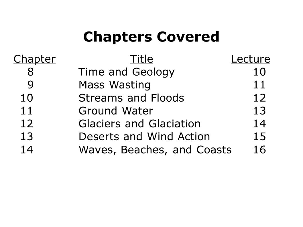 Chapters Covered Chapter Title Lecture 8 Time and Geology 10
