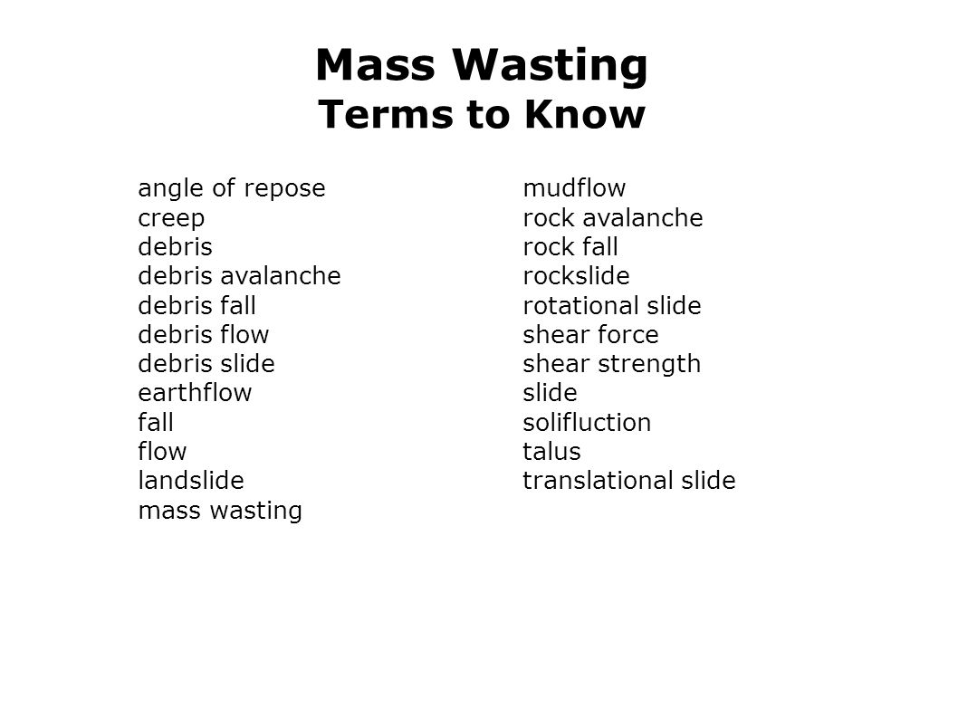 Mass Wasting Terms to Know